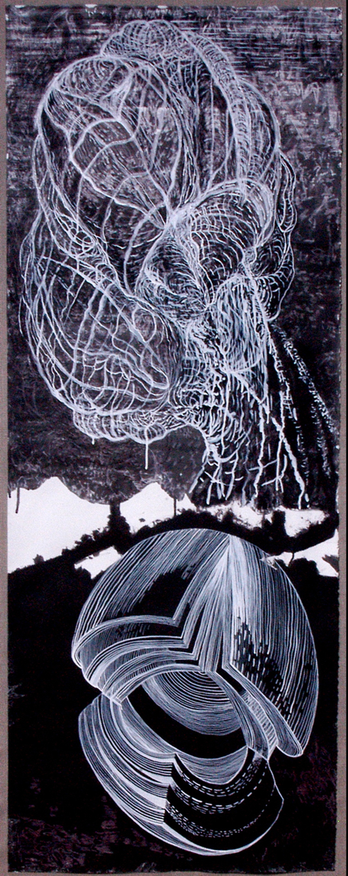 """Mind Over Matter, India ink on paper and silk, 28"""" X 71"""""""
