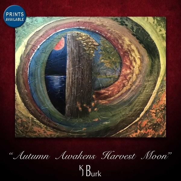KJsArtStudio.com | Autumn Awakens Harvest Moon ~ Original Mixed Medium Painting by KJ Burk