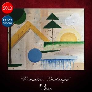 KJsArtStudio.com | Geometric Landscape ~ Original Geometric Abstract Painting by KJ Burk