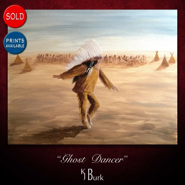 KJsArtStudio.com | Ghost Dancer ~ Original Native American Figurative Painting by KJ Burk