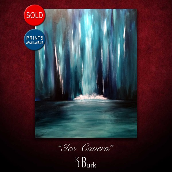 KJsArtStudio.com | Ice Cavern Waterfall ~ Original Contemporary Landscape 'study' Painting by KJ Burk