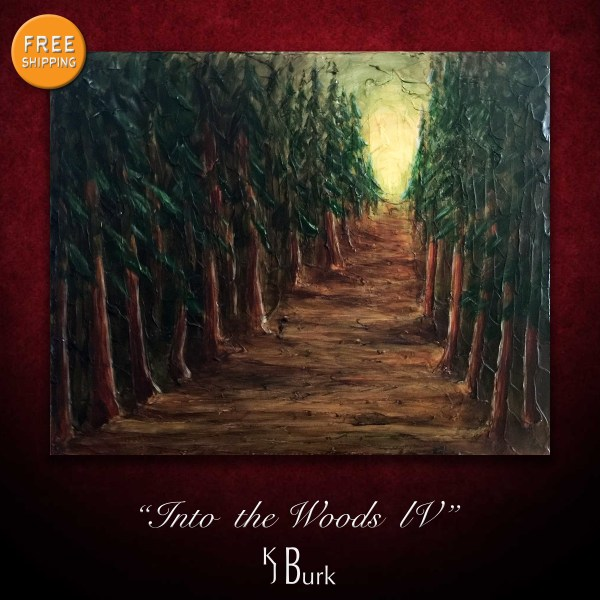 KJsArtStudio.com | Into the Woods IV ~ Original heavily textured pine forest landscape painting by KJ Burk