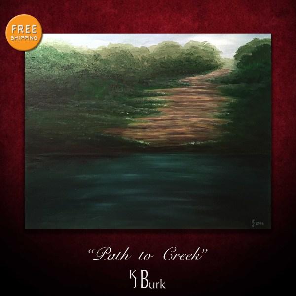 KJsArtStudio.com   Path to Creek ~ Original Landscape Painting by KJ Burk