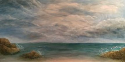 KJ's Art Studio | Light After The Storm - Original Mixed Medium Textured Seascape Painting by KJ Burk
