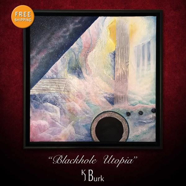 KJsArtStudio.com | Blackhole Utopia ~ Original Heavily Textured Mixed Medium Abstract Painting by KJ Burk