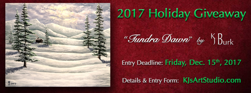 KJsArtStudio.com | 2017 Holiday Painting Giveaway ~ Tundra Dawn by KJ Burk