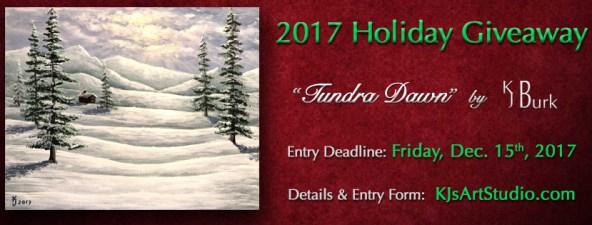 KJsArtStudio.com   2017 Holiday Painting Giveaway ~ Tundra Dawn by KJ Burk
