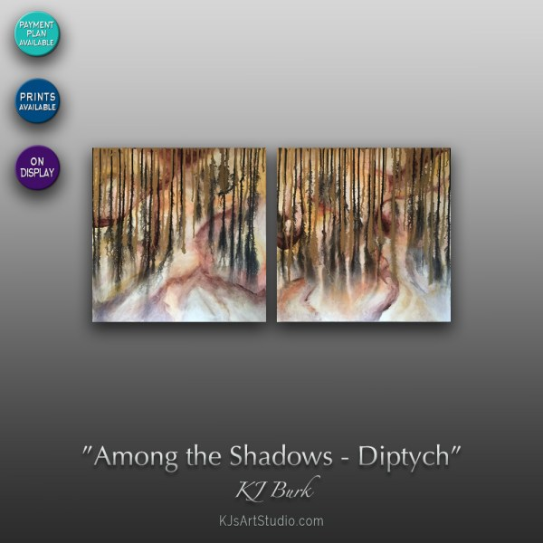 Among the Shadows - Diptych | Original Abstract Painting by KJ Burk