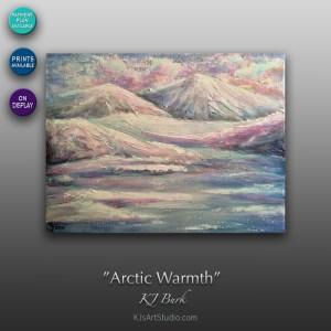 Arctic Warmth - Original Heavily Textured Arctic Landscape Painting by KJ Burk