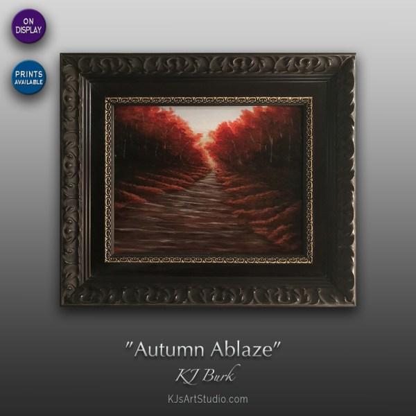 Autumn Ablaze - Original Landscape Painting by KJ Burk