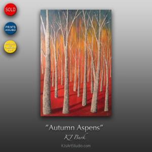 Autumn Aspens - Original Textured Modern Landscape Painting by KJ Burk