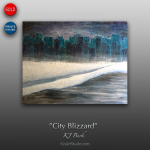 City Blizzard - Original Textured Cityscape Painting by KJ Burk