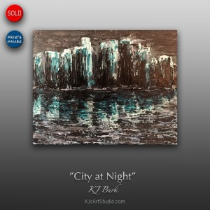 City at Night - Original Heavily Textured Cityscape Painting by KJ Burk