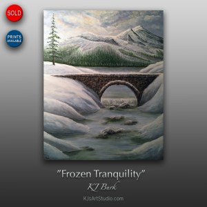 Frozen Tranquility - Original Textured Landscape Painting by KJ Burk