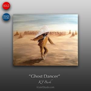 Ghost Dancer - Original Native American Heritage Painting by KJ Burk