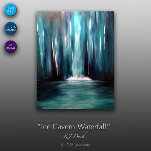 Ice Cavern Waterfall - Original Contemporary Landscape Painting by KJ Burk