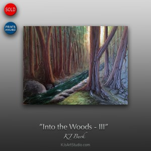 Into the Woods III - Original Heavily Textured Landscape Painting by KJ Burk