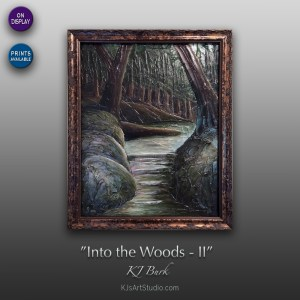 Into the Woods II - Original Heavily Textured Landscape Painting by KJ Burk