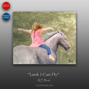 Look I Can Fly - Original Equine and Figurative Painting by KJ Burk