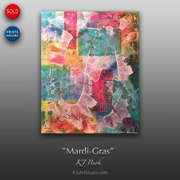 Mardi-Gras - Original Contemporary Textured Abstract Painting by KJ Burk
