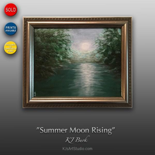 Summer Moon Rising - Original Landscape Painting by KJ Burk