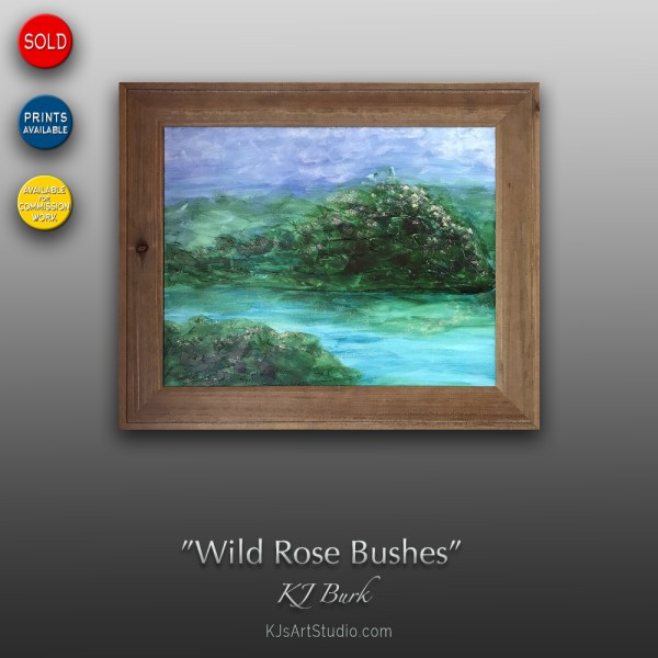 Wild Rose Bushes - Original Mixed Medium Textured Landscape Painting by KJ Burk