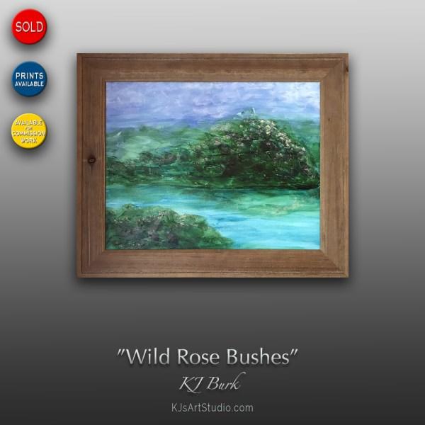 Wild Rose Bushes - Original Mixed Medium Textured Landscape Painting by KJ Burk