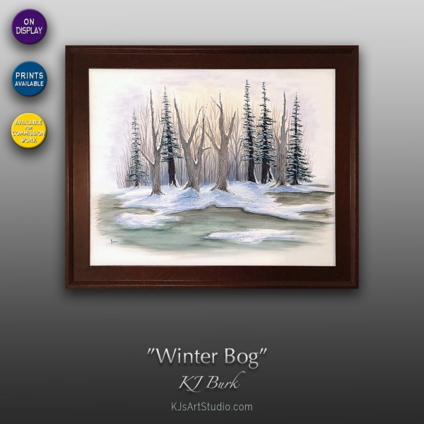 Winter Bog - Original Landscape Painting by KJ Burk