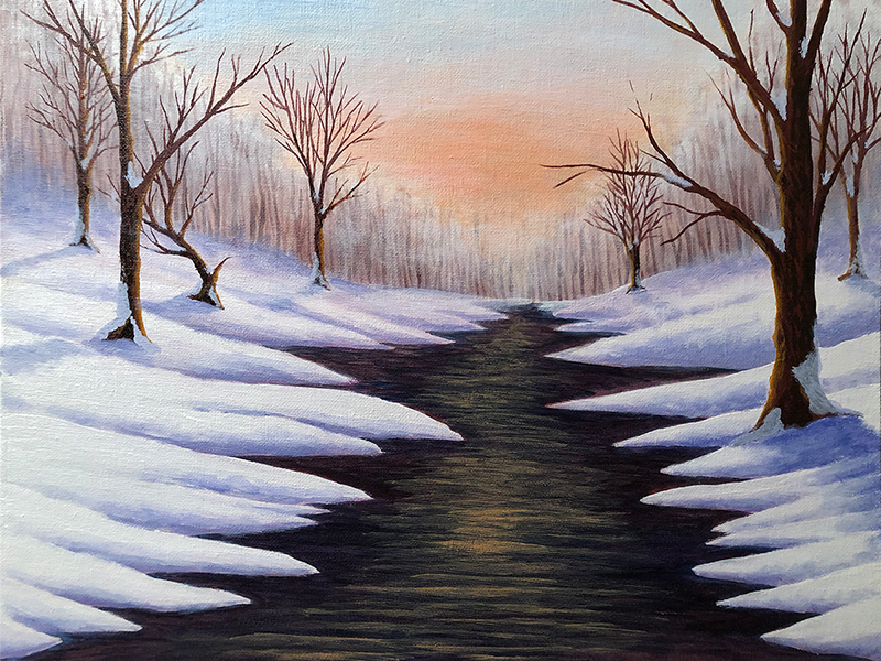 KJ's Art Studio | Winter Dawn - Original Commissioned Painting for SJR