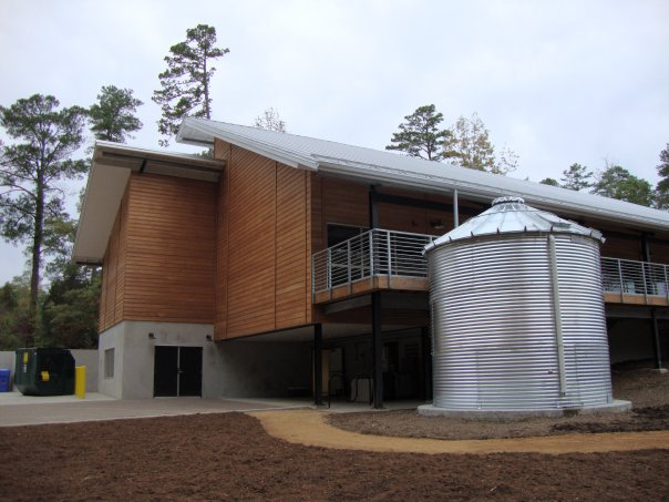 A view showing one of the Center's rainwater collection cisterns.