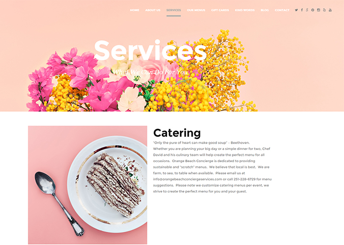Services: Catering etc