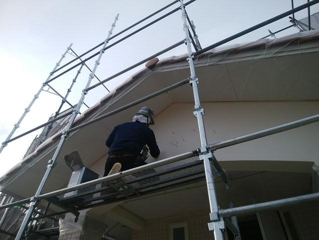 2-1外壁の塗装工事開始です。