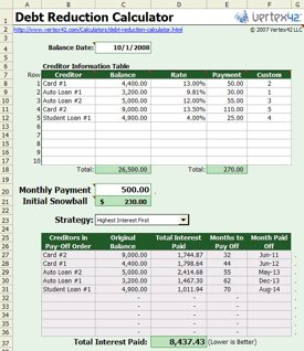Snowball Debt Reduction Calculator Spreadsheet | Cool Tools