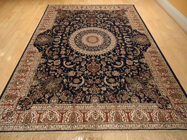 Luxury Silk Persian Area Rugs Navy Living Room Rugs 8x12 Area Rugs Navy Traditional 8x11 Dining Room Rug Silk Tabriz Design Low Pile 1