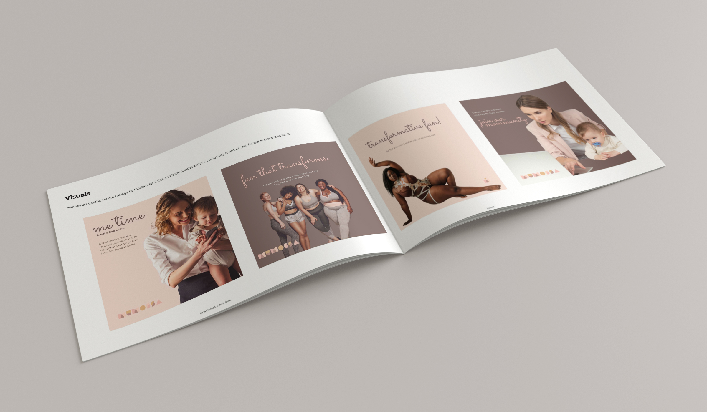 mumossa brand guide visuals and mockups