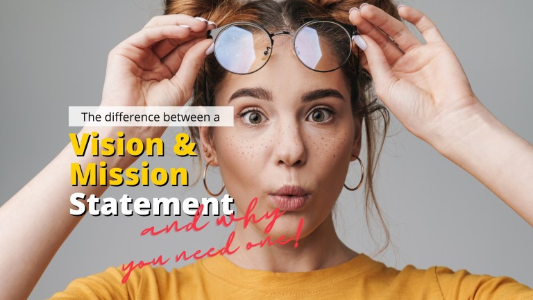 woman with yellow shirt and two buns on top of her head looking surprised while raising her glasses thinking about the difference between a vision and mission statement