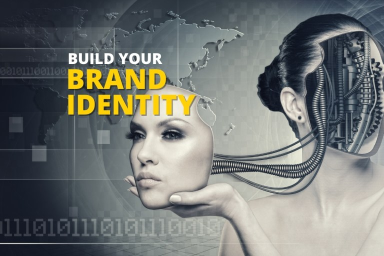 female cyborg holding her own face in her hands reflective of building your brand identity
