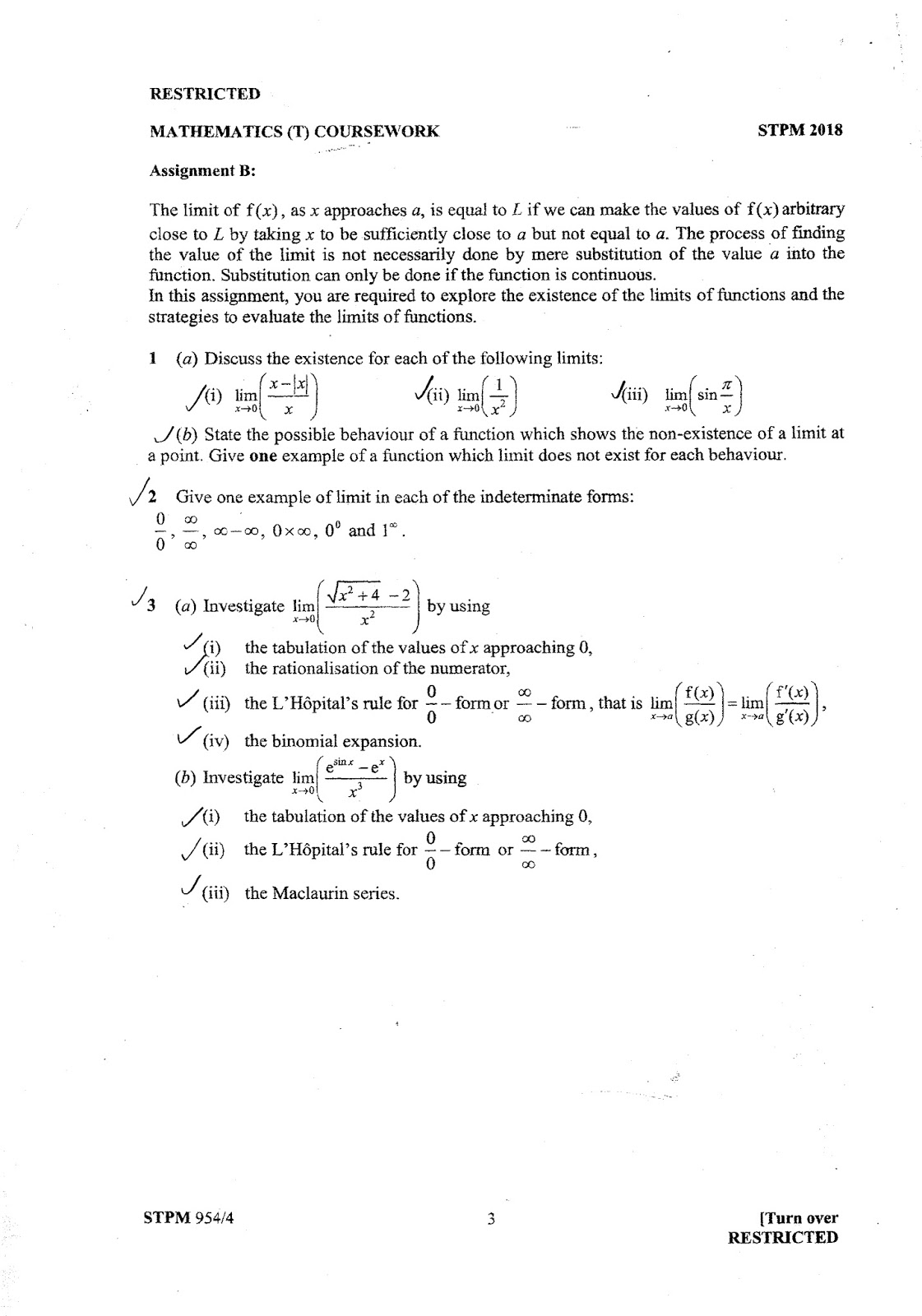 Stpm Term 2 Mathematics T Coursework Sample Solution