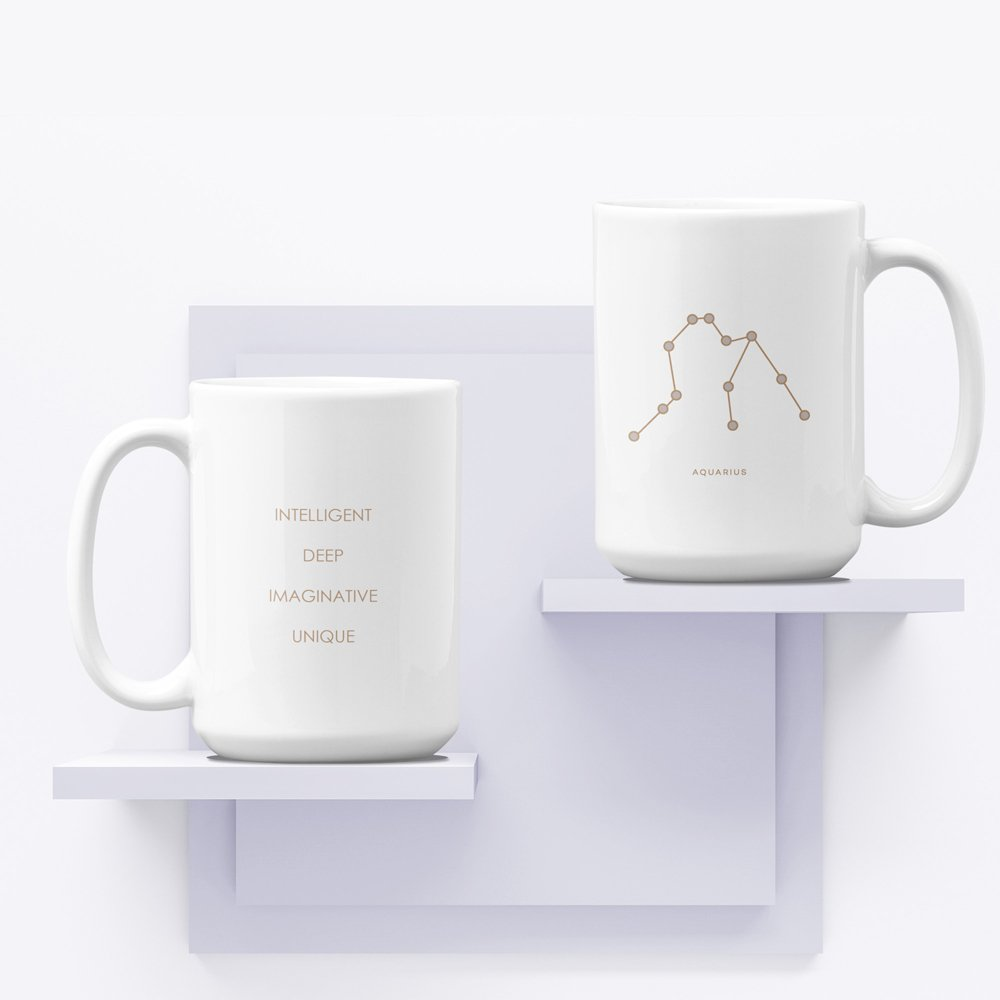 Mug on shelf Aquarius White