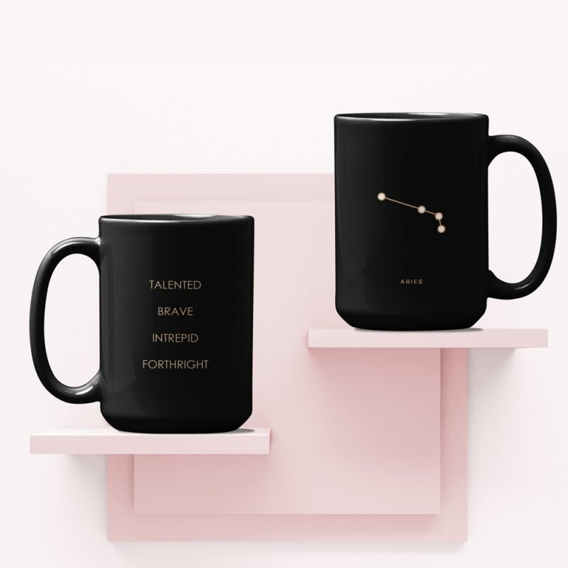 Aries Zodiac Mug with Constellation Astrology Traits