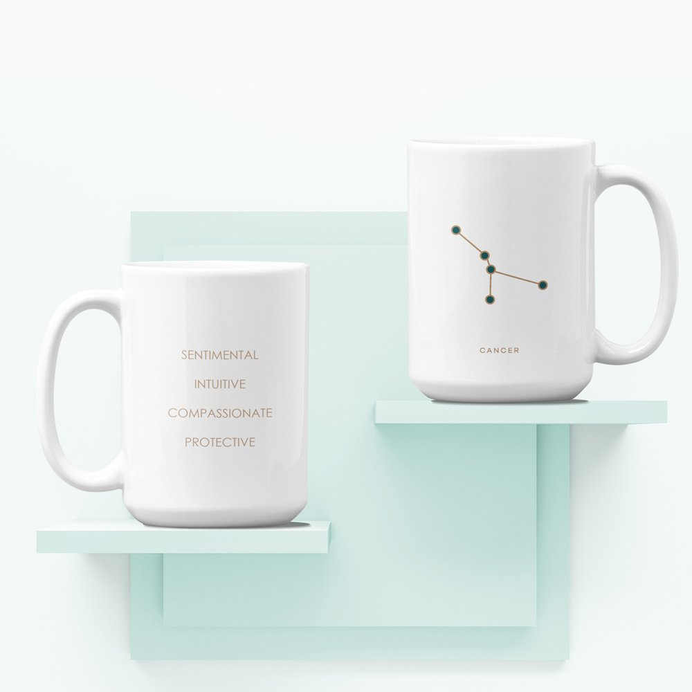 Mug on shelf Cancer White