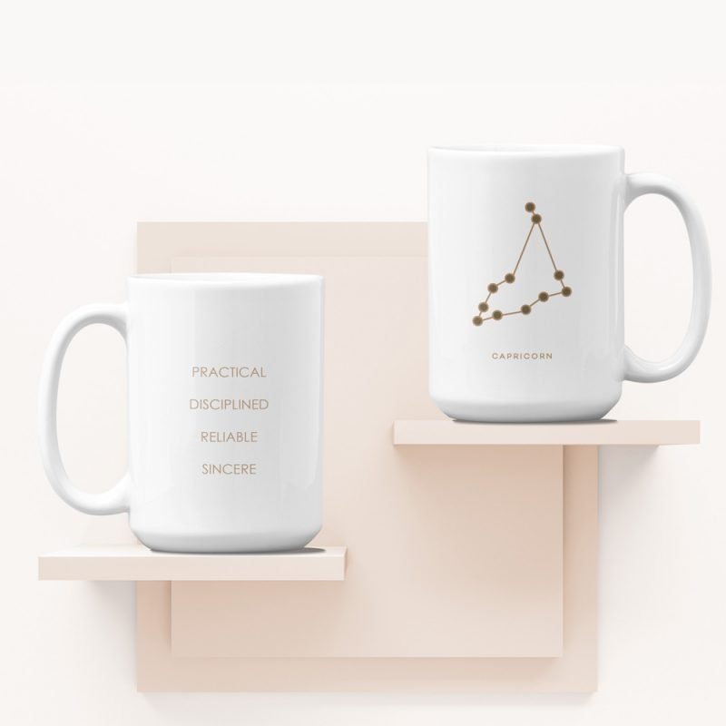 Capricorn Zodiac Mug with Constellation Astrology Traits