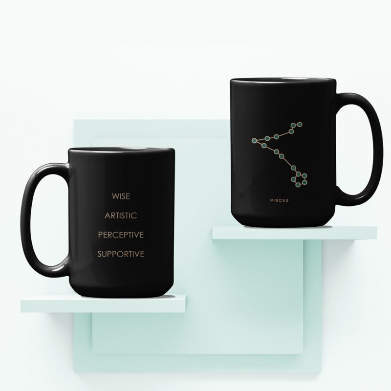 Pisces Zodiac Mug with Constellation Astrology Traits
