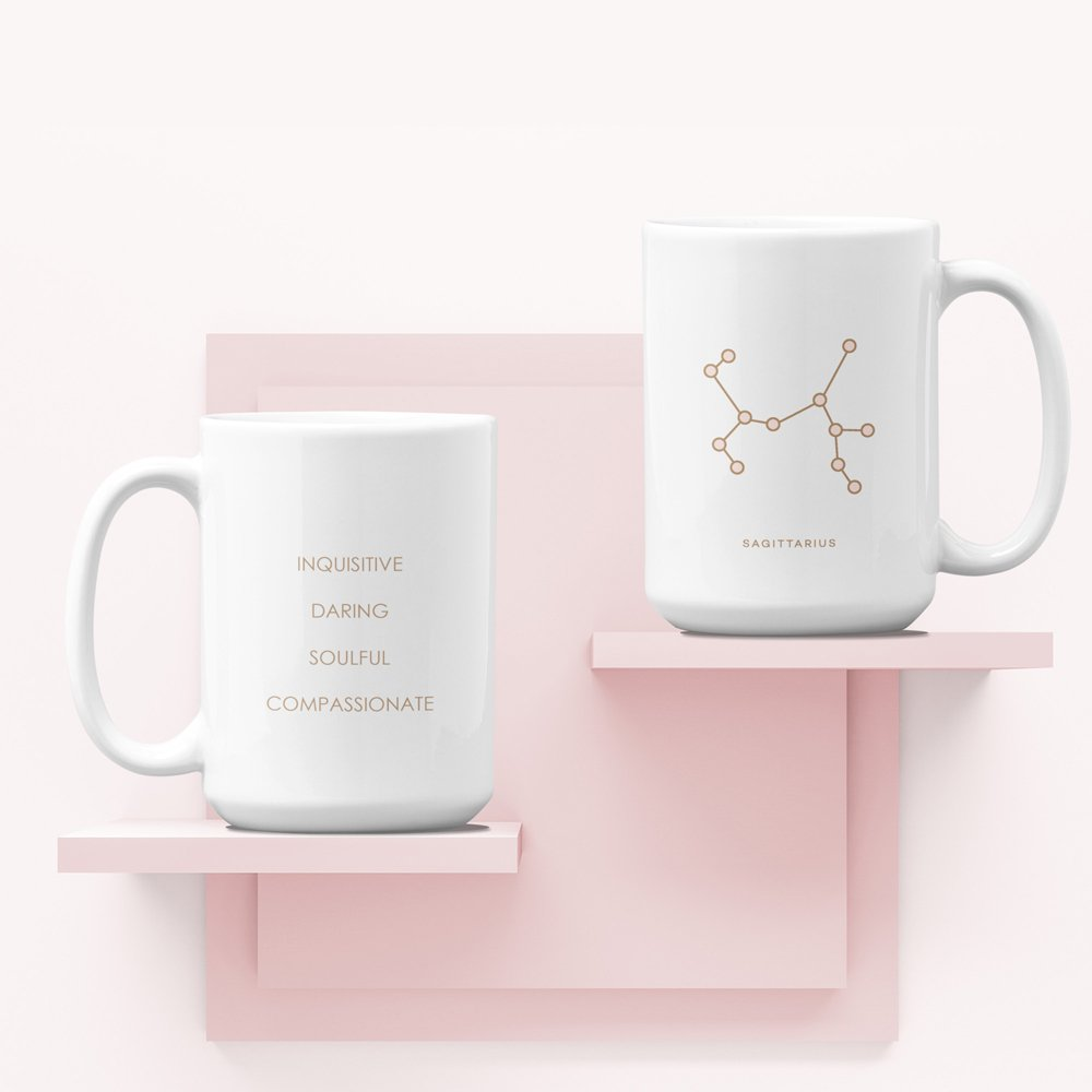 Mug on shelf Sagittarius White