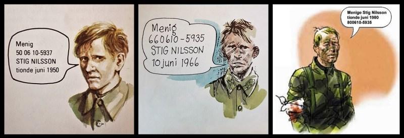 Menige Stig Nilsson i SoldF från 1972, 1986 samt 2001 – alltid med födelsedagen 10 juni