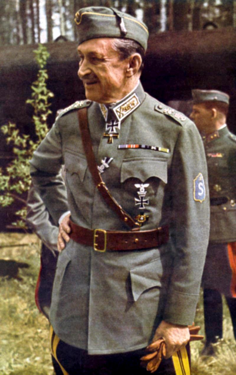 Marskalken av Finland, Gustaf Mannerheim, symbolen för en framgångsrik kamp mot en antagonistisk stormaktsgranne. Foto: Helmut Laxin, Public Domain, https://commons.wikimedia.org/w/index.php?curid=1653135.