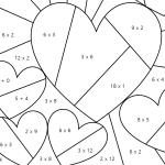 Rekenkleurplaat voor Valentijnsdag voor groep 3-8