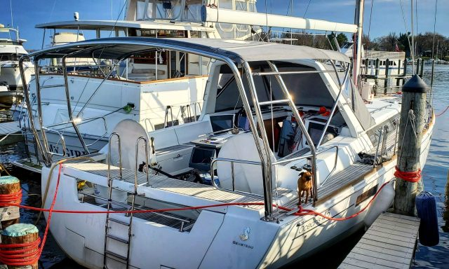 Beneteau 45 Oceanis with Integrated Bimini Canvas and Davit Swingarm.