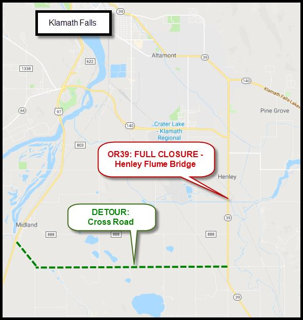 HWY 39 Road Closure Scheduled March 22 for Henley Flume Bridge ... Klamath Falls Road Map on hermiston road map, mount vernon road map, heppner road map, elberton road map, aspen road map, eagle point road map, coos bay road map, oceanside road map, santa rosa road map, black butte ranch road map, pocatello road map, woodland road map, walla walla road map, astoria road map, norman road map, oakland road map, seaside road map, roswell road map, vacaville road map, bend road map,