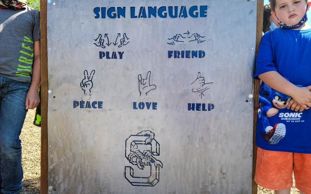 Sign language sign installed on Shasta playground